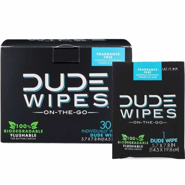DUDE Wipes Flushable Wet Wipes for Travel