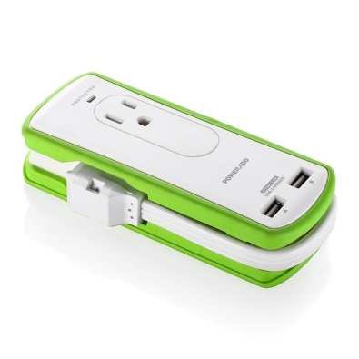 Poweradd 2-Outlet Mini Portable Travel Surge Protector with Dual 3.4A Smart USB Ports, Wrapped Cord Design