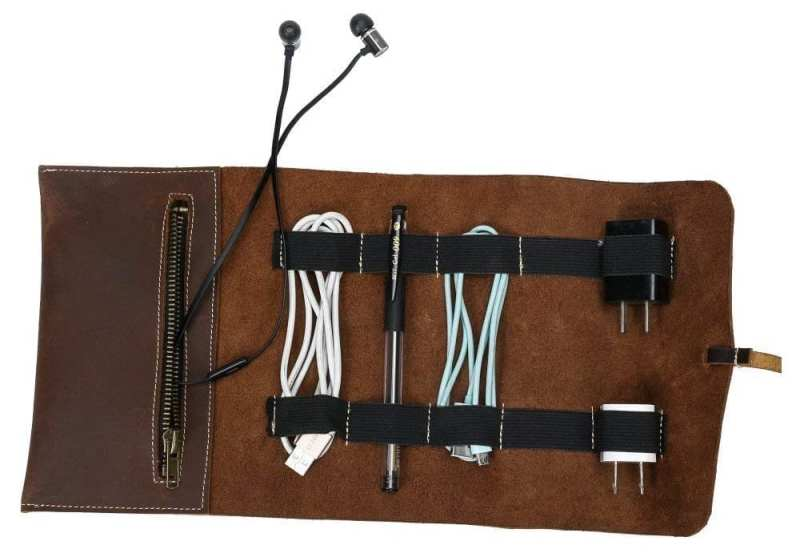 QEES Leather Cord Organizer3