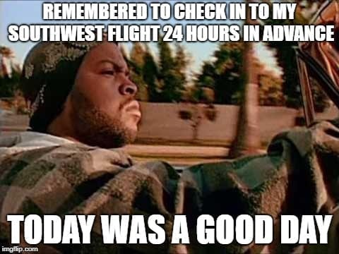 Southwest Check in Travel Meme