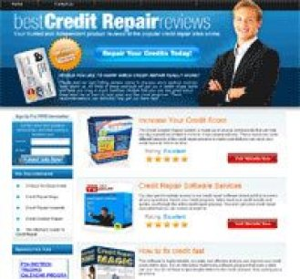 CBProAds' best credit repair reviews niche storefront showing a man with crossed arms in front of a blue background