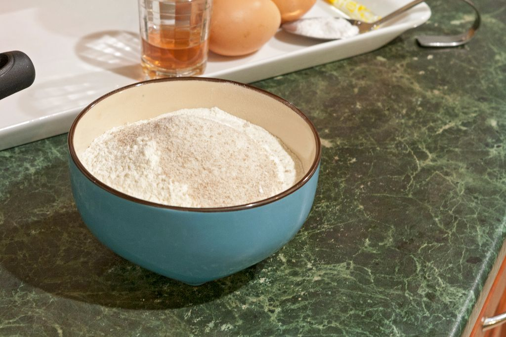 Combining the flour with baking powder