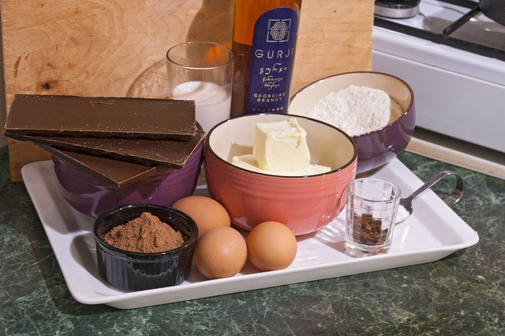 Preparing the ingredients for easy chocolate butterscotch brownies