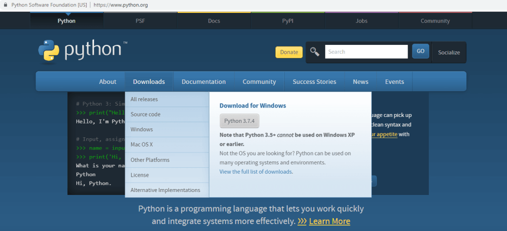 python download page image