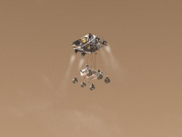 Sky Crane Mars rover Curiosity to seek answers images
