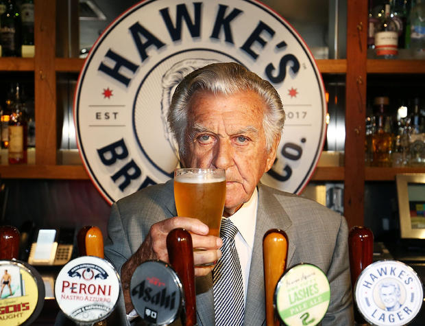 Bob Hawke toasts Hawke's Lager at the launch of Hawke's Lager at The Clock Hotel on April 6, 2017, in Sydney, Australia.