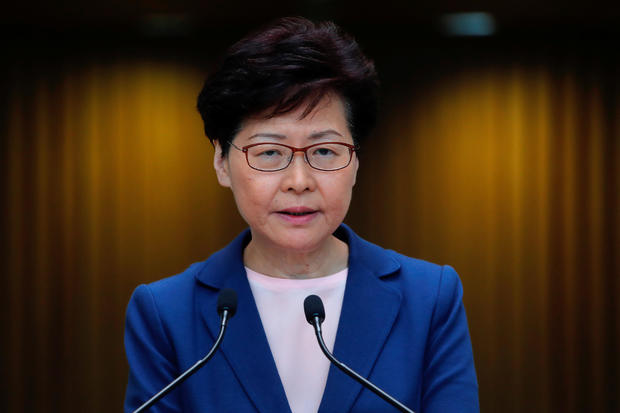 Hong Kong Chief Executive Carrie Lam speaks to the media about an extradition law in Hong Kong
