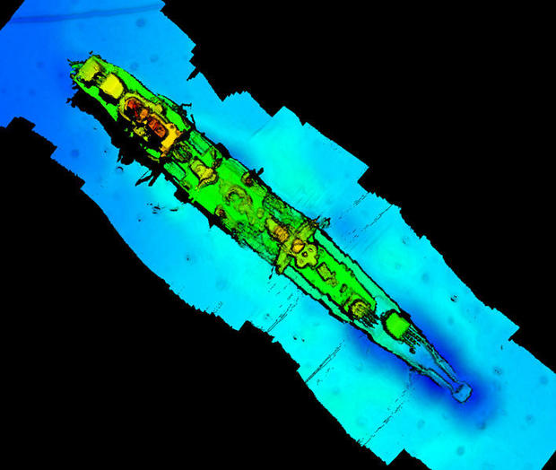 """A sonar scan of sunken German WWII warship cruiser """"Karlsruhe"""" that had been observed 13 nautical miles from Kristiansand"""