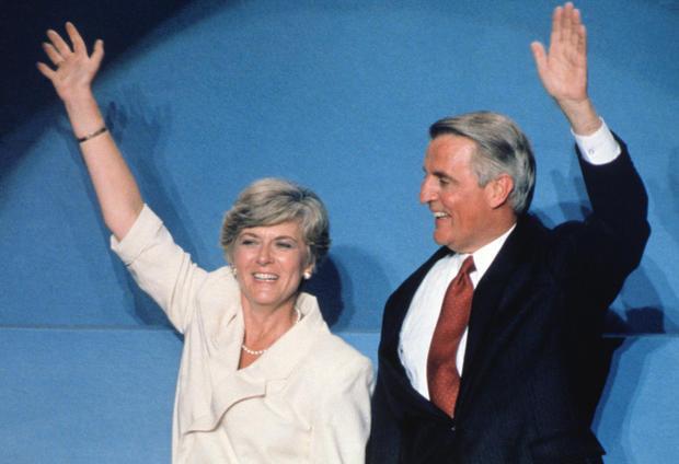 Walter Mondale and Geraldine Ferraro Waving