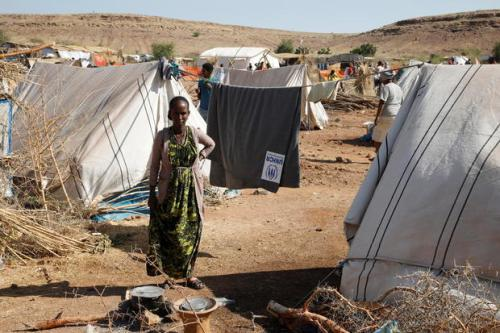 Asqual Helwa is seen at the Um Rakuba refugee camp, which houses Ethiopians fleeing the fighting in the Tigray region, at the border in Sudan