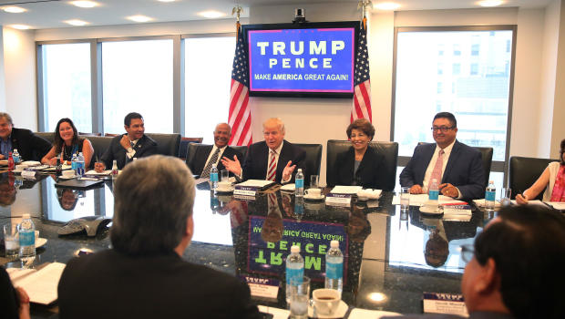 Donald Trump meets with Hispanic leaders in New York - CBS ...