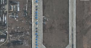The photos show Russia's military rise near Ukraine, while Putin claims dominance over more sea and air in the region