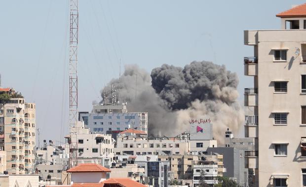 Israeli forces destroy building in Gaza City where Al-Jazeera, Associated Press had their offices