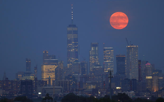 The full moon rises in New York City on the 50th anniversary of the Apollo 11 launch