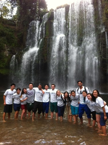 The Spreading Smiles team enjoying Costa Rican waterfalls after a day of volunteering.