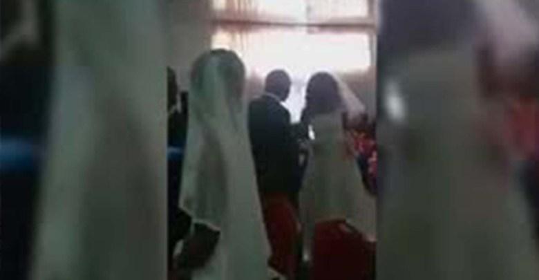 En plena boda se aparece la amante vestida de novia