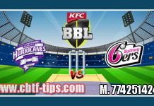 Sydney Sixers vs Hobart Hurricanes Match Reports Toss Lambi Pari HBH vs SYS