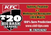BBL 38th Match Reports SYT vs MLR Toss Lambi Pari Session Tips