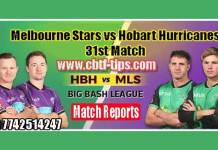 Melbourne Stars vs Hobart Huricanes Match Reports Toss Lambi Pari HBH vs MLS