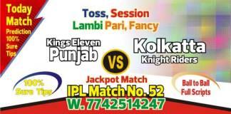 Lagai Khai KXIP vs KKR 52nd Match Prediction & Betting Tips - IPL 2019 -Todayprediction.in