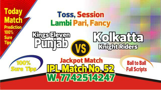 Lagai Khai KXIP vs KKR 52nd Match Prediction & Betting Tips - IPL 2019 -Todayprediction.in