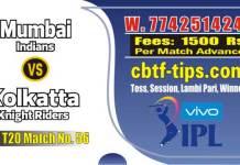 Lagai Khai MI vs KKR 56th Match Prediction & Betting Tips - IPL Match Today