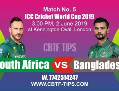 World Cup 2019 SA vs BAN 5th Match Prediction & Betting Tips