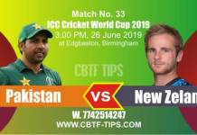 World Cup 2019 Pak vs NZL 33rd Match Reports Betting Tips