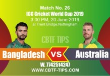 World Cup 2019 Ban vs Aus 26th Match Reports Betting Tips