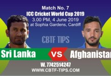 World Cup 2019 SL vs AFG 7th Match Prediction & Betting Tips