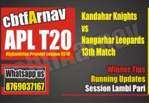 APL 2018 Nangarhar vs Kandhar 13th Today Match Prediction