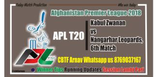 Today Match Reports APL T20 Kabul vs Nangarhar 6th Match