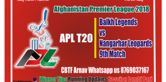Balkh vs Nangarhar 9th APLT20 CBTF Tips