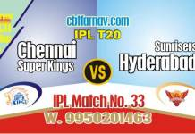 Today IPL Prediction Match No 33rd SRH vs CSK 100% Sure Tips