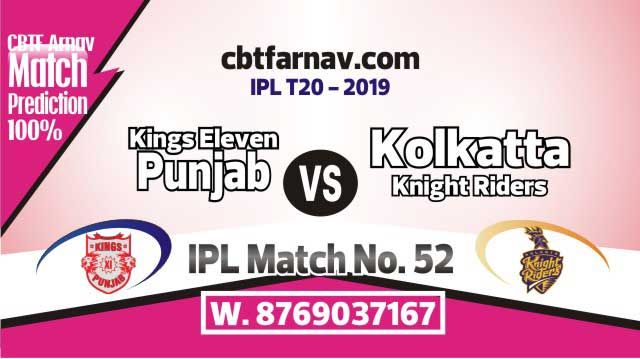 KXIP vs KKR Today IPL Match No 52nd Prediction 100% sure Win Tips