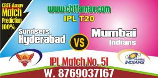 MI vs SRH Today IPL Match No 51st Prediction 100% sure Win Tips
