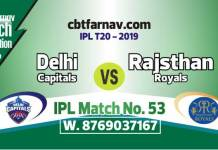 DC vs RR Today IPL Match No 53rd Prediction 100% sure Win Tips