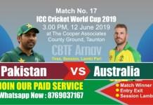 World Cup 2019 Match 17th PAK vs AUS Today Match Prediction