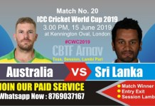 World Cup 2019 Match 20th SL vs Aus Today Match Prediction