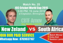 World Cup 2019 Match 25th SA vs NZL Today Match Prediction