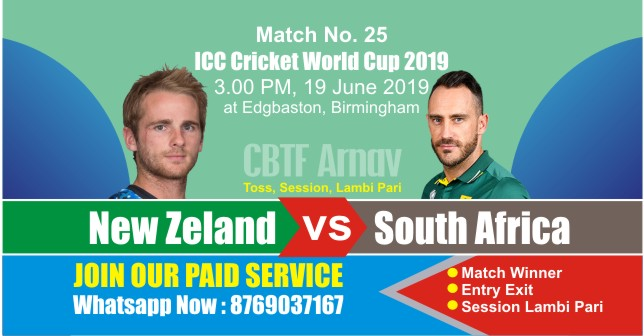 World Cup 2019 Match 25th SA vs NZL Today Match Prediction