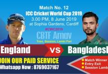 World Cup 2019 Match 12th Ban vs Eng Today Prediction Win Tips