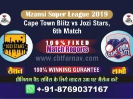 Jozi vs Cape Town 6th Mzansi 2019 Today Match Reports Betting Tips
