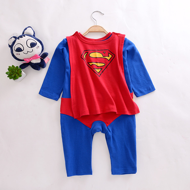 3070348819 9906558 Baby Boy Romper Superman Long Sleeve with Smock Halloween Christmas Costume Gift Boys Rompers Spring Autumn Clothing Free Ship