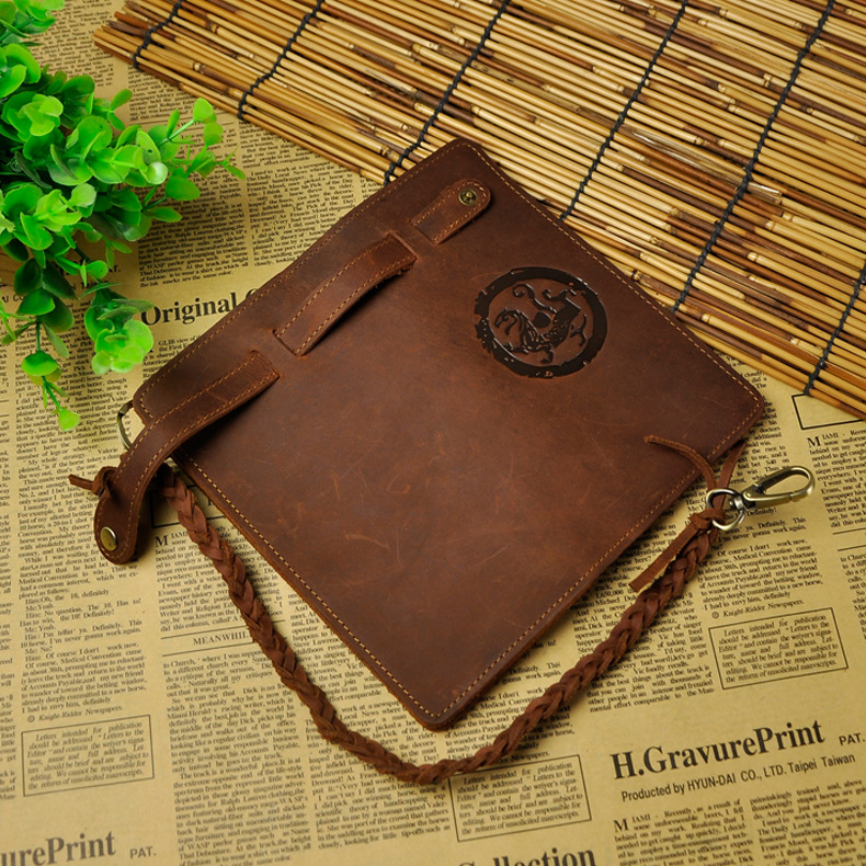 Hot Sale Cattle Male Organizal Crazy Horse Real leather Design Checkbook Chain Wallet Purse Clutch Handbag For Men N3377d