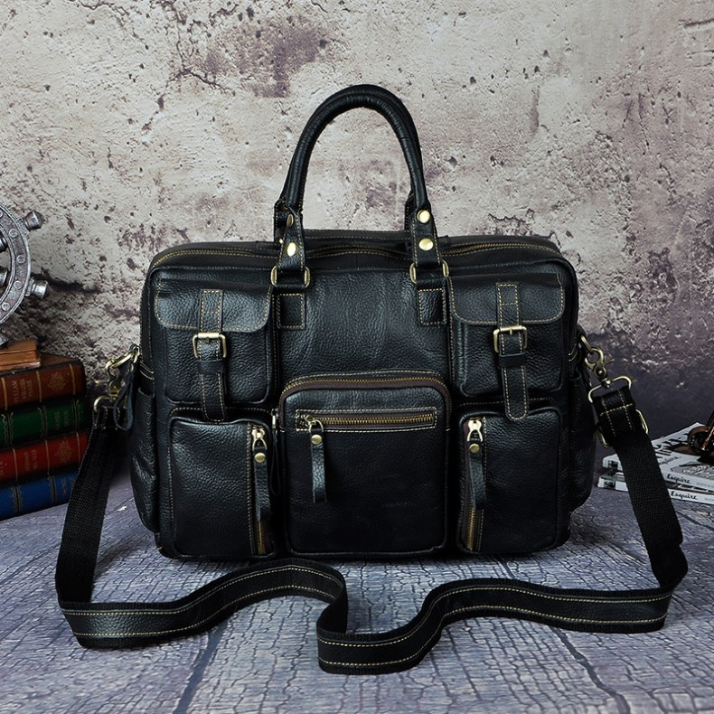 7001617174 2068518898 Original leather Men Fashion Handbag Business Briefcase Commercia Document Laptop Case Design Male Attache Portfolio Bag 3061-bu