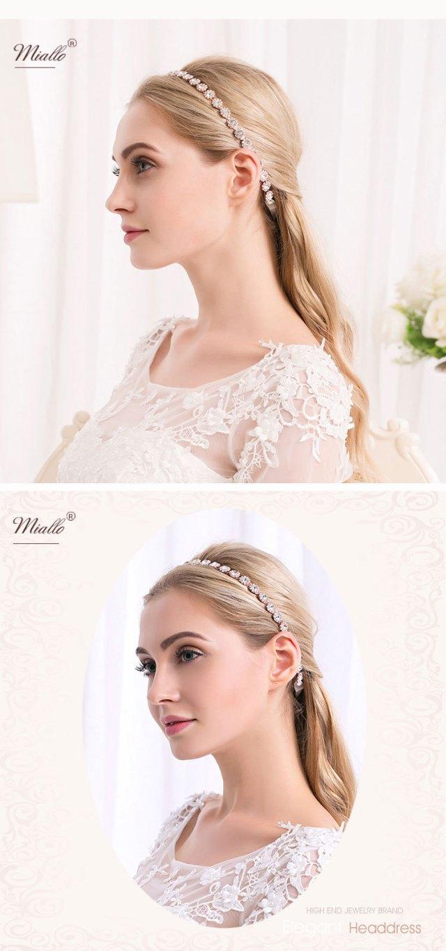 details about wedding bridal round rhinestone crystal headband alloy hair band ribbon belt