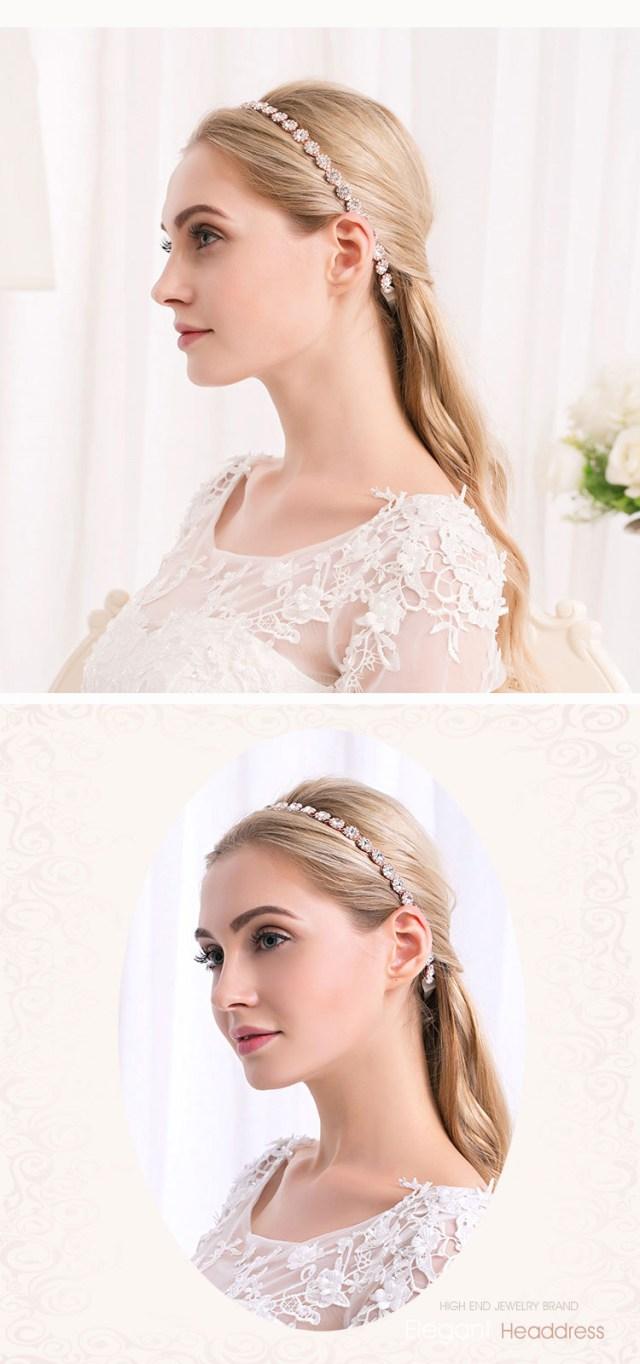 details about handmade rhinestone flower chain wedding bride charm ribbon head band new