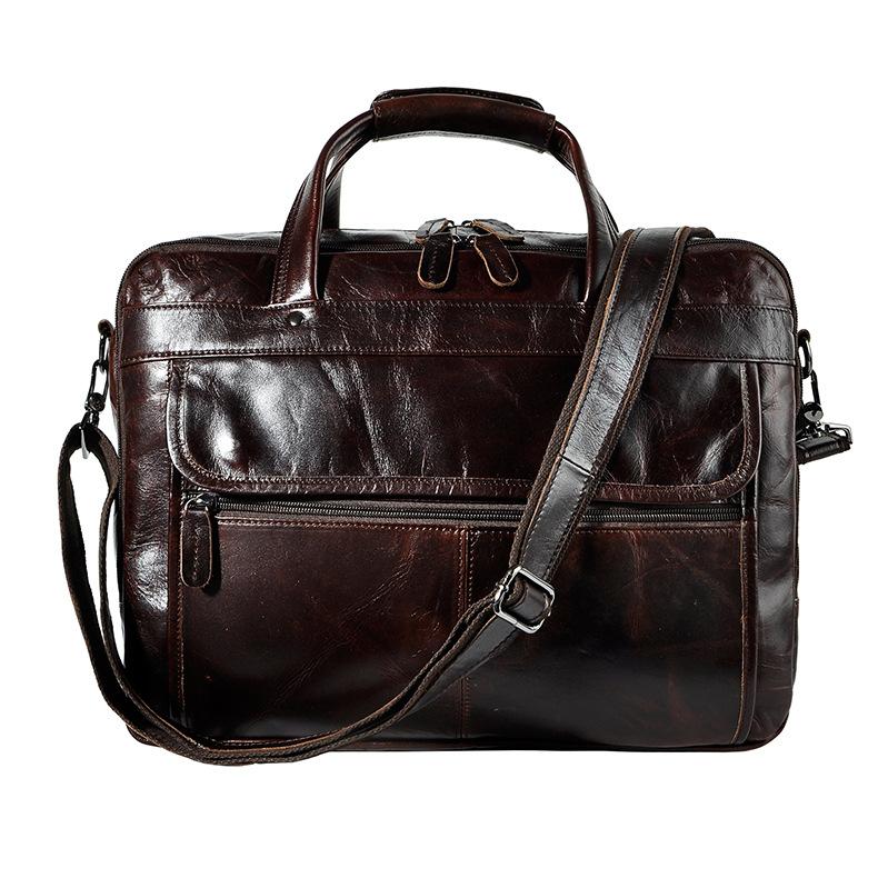 4606434007 2068518898 Men Oil Waxy Leather Antique Design Business Briefcase Laptop Document Case Fashion Attache Messenger Bag Tote Portfolio 7146