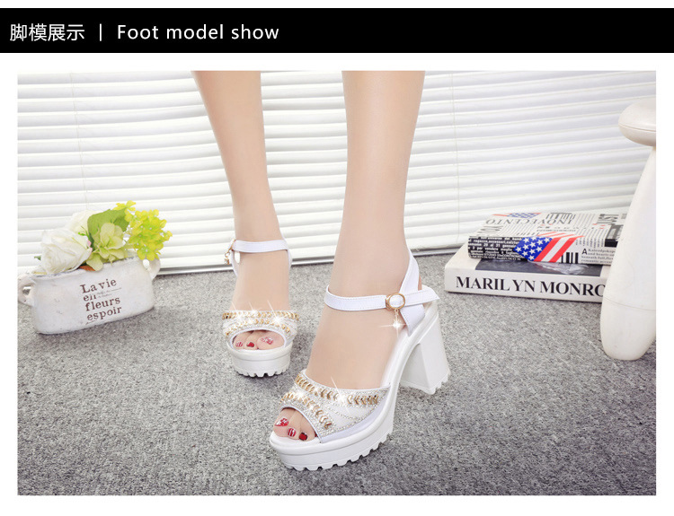 8581214410 1249109371 ELGEER 2019 new thick with sandals female summer diamond fish mouth thick bottom muffin waterproof platform with high